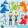 Kit Scrapbook Digital Dragões Imagens Clipart Cod 3