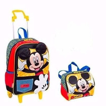 Mochila Escolar Rodinhas Mickey Mouse + Lancheira - Sestini