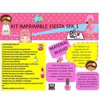 Kit Imprimible Fiesta Spa 1 Invitaciones, Empaques, Etiqueta