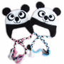 A Pedido Gorros Oso Panda Orejeras Trenzas Crochet Lana
