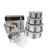 Conjunto De Potes Inox 5 Peças C/ Tampa Plástica Unicasa