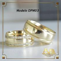 Alianças Ouro 12k 7mm Com Pedras-frete Grát- 12xs/jur Dpm03