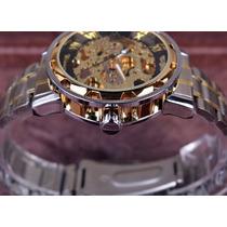 Reloj Skeleton Genuino Winner A Inoxidable Moda Transparente
