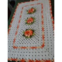 Tapete De Crochê - Barbante - Flores Em Relevo