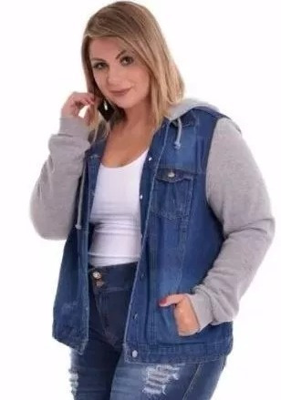 c41308752 Jaqueta Jeans Manga De Moletom Capuz Plus Size Gg Grande - R  120
