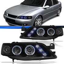 Par Farol Tuning Led Vectra 98/05 Black Angel Eyes Projetor