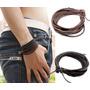 Pulseira Bracelete Masculina Couro Trançado Kit Com 2