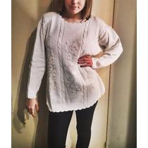 Sueter Sweaters Algodon Bordados De Seda Talle L Superoferta