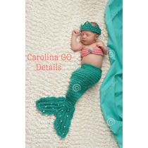 Disfraz De Sirena Sirenita Bebé Tejido Crochet Envío Gratis