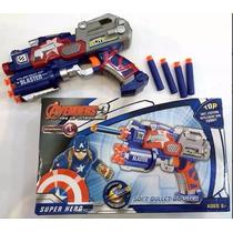 Arma Brinquedo Pistola Nerf Dardo Capitão América Vingadores