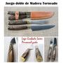 Juego Doble Madera Asado Cuchillo Artesanal Logo Regalo