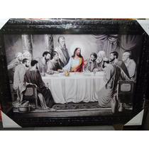 Grande Quadro Santa Ceia Jesus Apostolos Moldura Negra