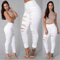 Calça Jeans Rasgado Feminino Tchie Branco Tam. G - Novidade