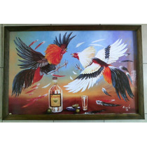 Cuadro Grande Nuevo Gallos De Pelea Tequila