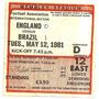 Ingresso Jogo Inglaterra 0 X 1 Brasil - Wembley Gol De Zico