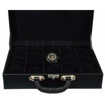 Caixa Maleta Estojo Luxo Porta 15 Relógios Em Couro Eco!