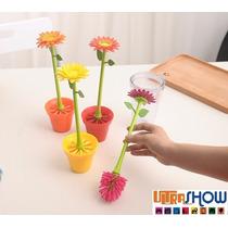 Jogo De Escova Para Copo Pia Com Flor E Vaso Super Luxo