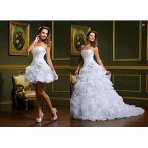 Promoção Vestido De Noiva 2 Em 1 Branco Curto E O Longo