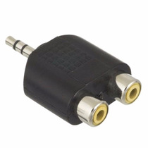 Plug Adaptador 2 Fêmeas Rca P/ 1 Macho P2 Estereo - Unitario