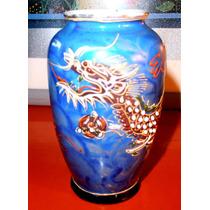 Antiguo Bello Jarrón Violetero Porcelana Satsuma Dragonware