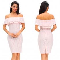 Vestido Rosa Pastel Encaje Sin Hombros Casual Fiesta Coctel