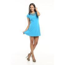 Vestido Casual Azul Mangas Cortas Ancho Saints Clothes