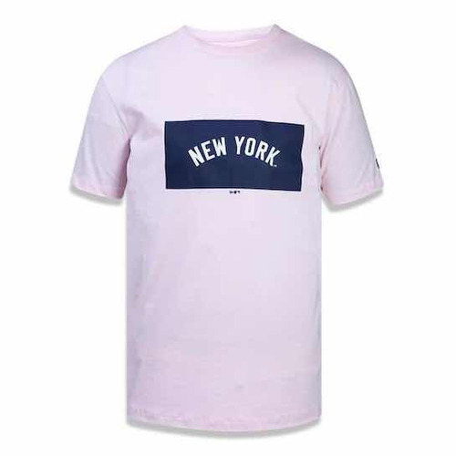 Camiseta New York Yankees Mlb New Era Masculina - Rosa Claro - R  90 ... 4b0cdfc95964f