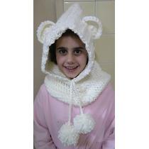 Gorro Artesanal Modelo Oso Tejido Crochet Todos Los Tamaños