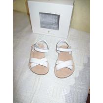 Aurojul-sandalias Cuero Blancas De Minimimo N°20 C/ Caja