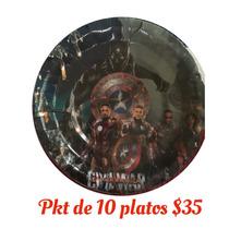 Platos Vasos Globos Dulceros Civil War Capitán América Iron