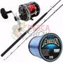 Kit Pesca Pesada Carretilha E Vara Black Max 120lbs + Linha
