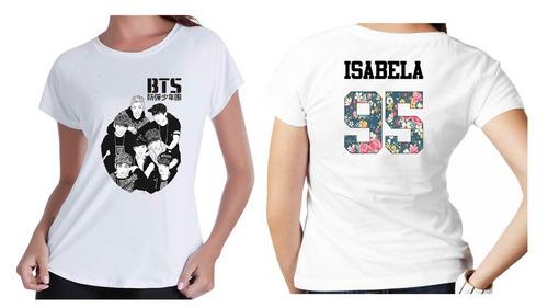 Camiseta Camisa Kpop Personalizada Grupo Bts Com Nome Floral - R  35 ... 34e34ecd34529