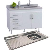 Mueble De Cocina Bajo Mesada 140cm + Mesada Acero Inoxidable