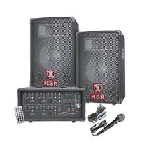 Kit Mezcladora Amplificada 6ch Usb + 2 Bafles Bocina 15