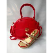 Combo Bolso Baul Rojo + Sandalia Elegante Dama Envío Gratis