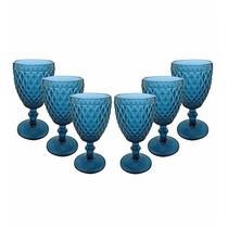 Jogo 6 Taças P/ Vinho 200ml Bico De Abacaxi Azul Mimo Style
