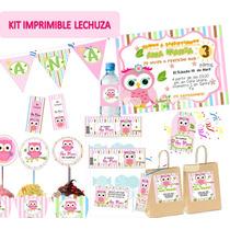 Kit Imprimible Lechuzas Buhos Baby Shower Cumpleaño Candybar
