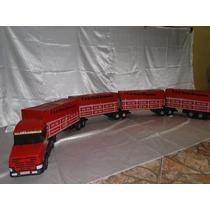 Caminhão Miniatura Brinquedo Madeira Bi Trem Scania 2,25metr