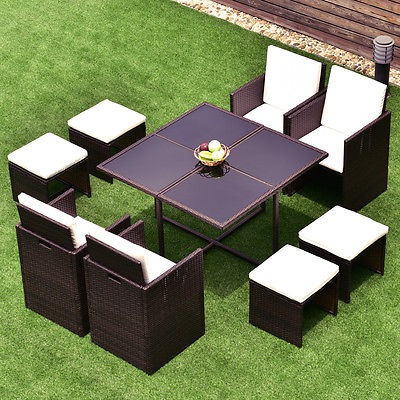 9 Pc Mimbre Rattan Cubo Jardín Muebles Mesa Sofá Salón Patio ...