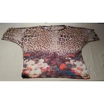 Blusa Feminina Estampada Onça E Flores- Ontop