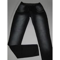 Calça Jeans Jezzian Preta Com 3 Botoes Tam 16