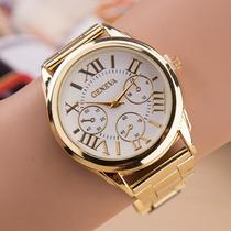 Relógio Feminino Geneva Dourado Números Romanos Pronta Entr.