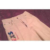 Pantalon Tela Jeans Color Mostaza C/bordado T 36