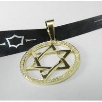 Ouro 18k Estrela De Davi Com Diamantes, Presente, Luxo.