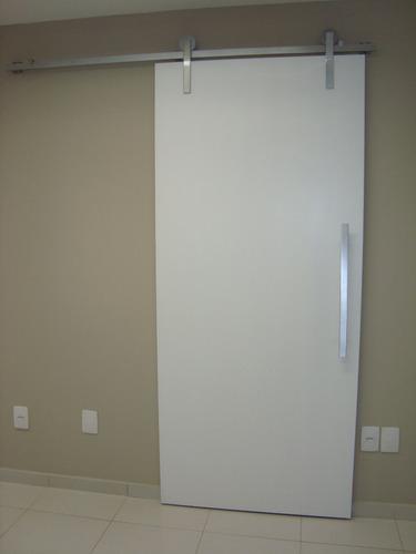 Kit Trilho Porta De Correr Roldana Aparente  R$ 205,00 em Mercado Livre -> Porta Para Banheiro Pequeno Mercado Livre