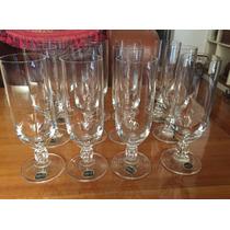 12 Copas Champagne Bohemia Glass Pie Tallado Antiguas