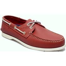 Zapato De Piel Top Sailer Modelo 101 Rojo Ladrillo