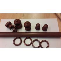 Kit Barral Madera P/ Cortina Color Cedro ( 33 Mm X 3m )