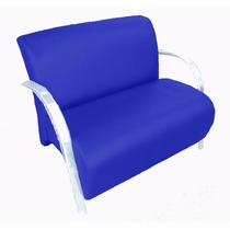 Poltrona Sofá Dois Lugares Courino Sala Recepção Azul Royal