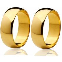 Aliança Banhada Noivado Casamento 10 Mm